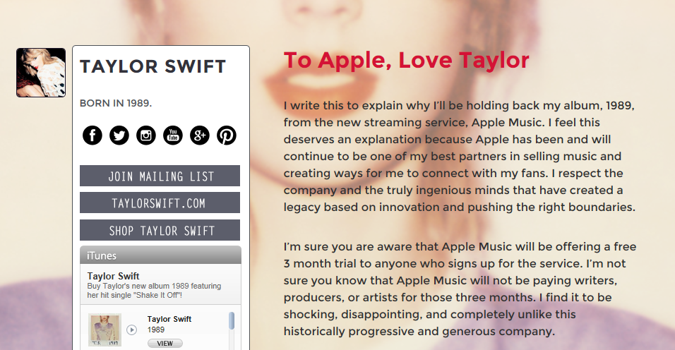 to apple love taylor customer loyalty